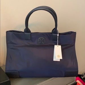 NWT Authentic Tory Burch Ella Navy Nylon Tote Bag